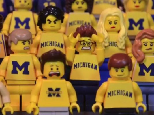 Who did this!? @MSU_Football over @UMichFootball, LEGO-style