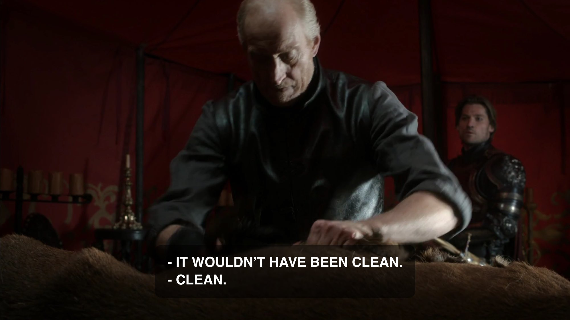 All Tywin cares about is why Jaime didn't killed Ned when he had a chance. He scoffs at Jaime's answer. https://t.co/vh5MGM0gBz
