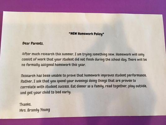 Teacher sends parents no homework policy letter. Among stories we're talking about here