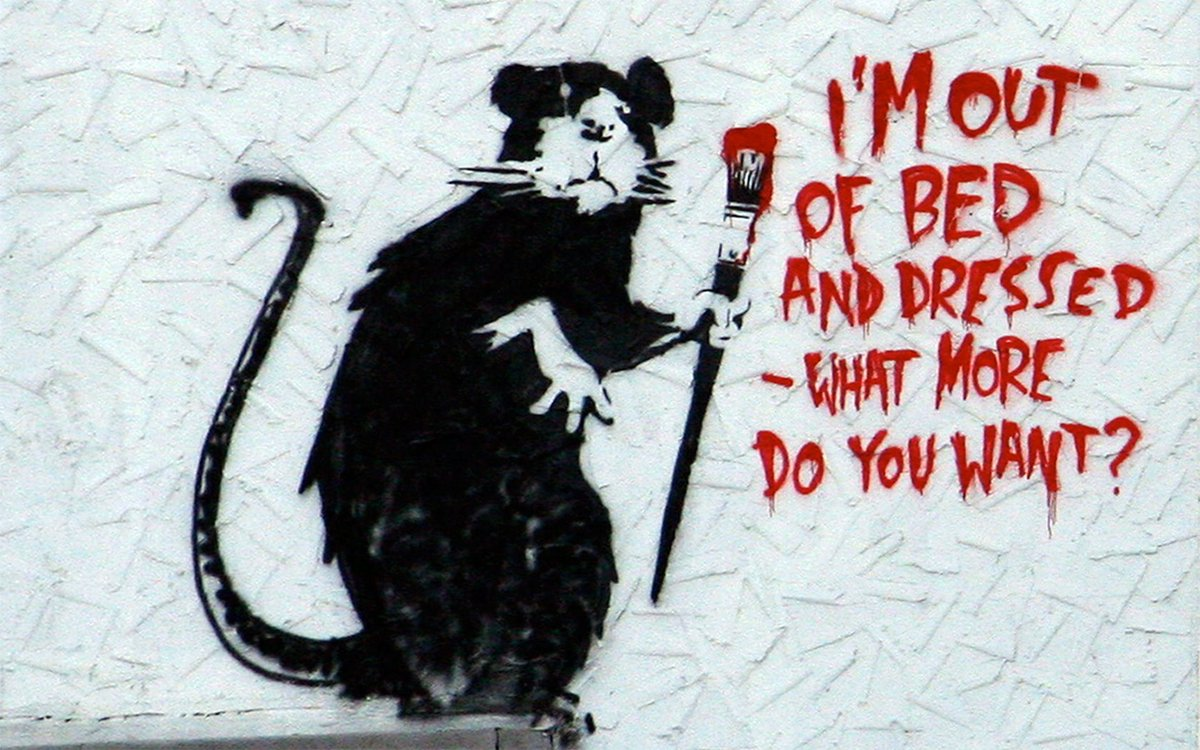 美術すき on twitter banksy バンクシー out of bed rat