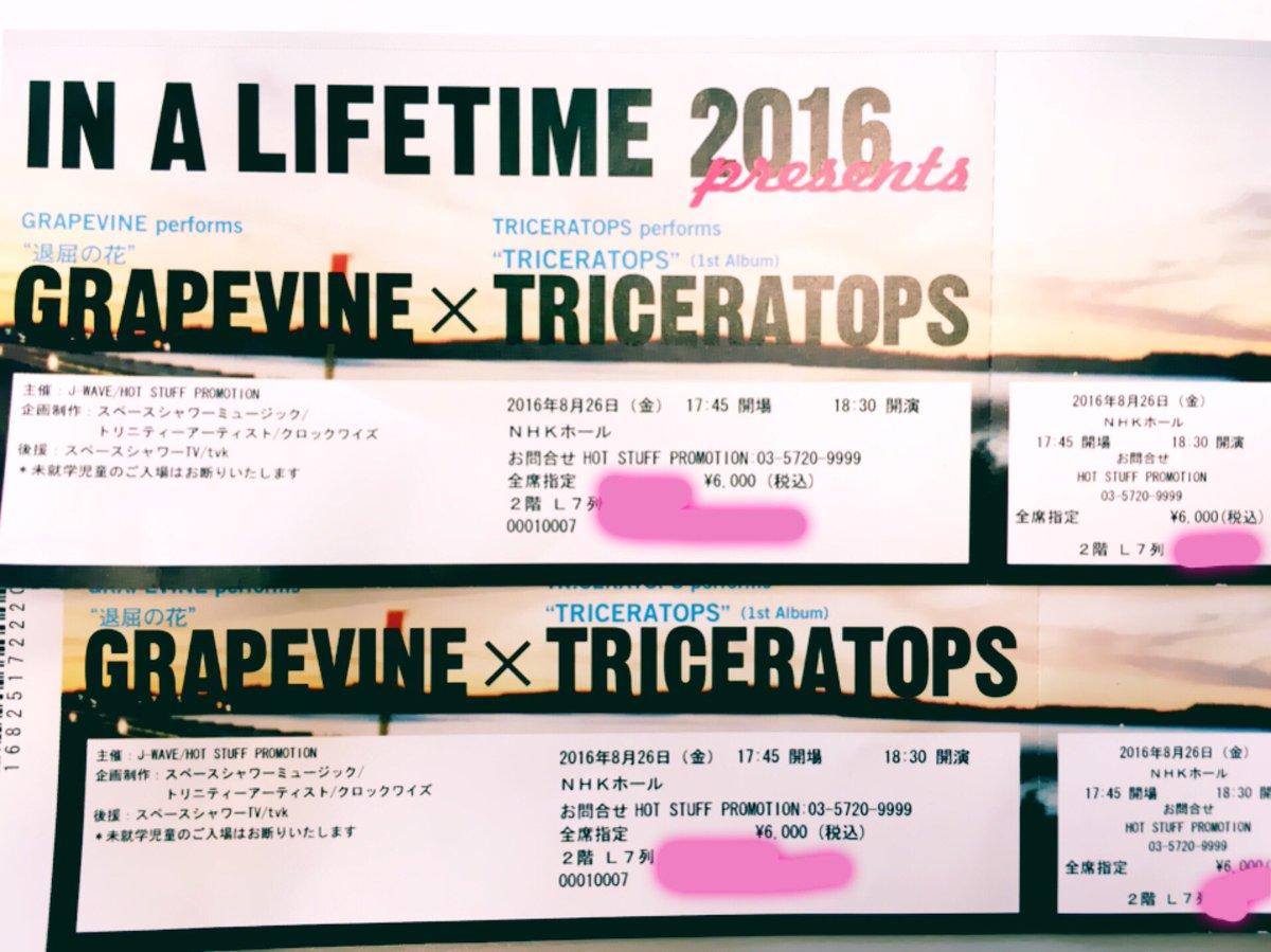 【拡散希望・お譲りします】 GRAPEVINE/TRICERATOPS IN A LIFETIME 2016 @NHKホール 8/26 2枚 2階席7列目 当日手渡しか、バイク便等でお送りします。今週末です‼︎ どなたか〜‼︎ https://t.co/eCcxGgjIVd