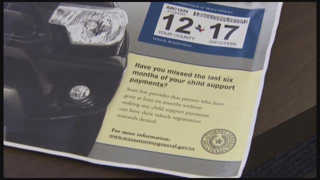 Texas to tie child support to car registration