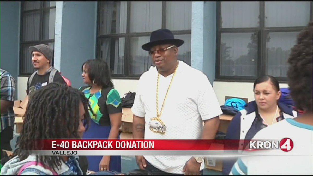 People Behaving Nicely: E-40 backpack donations. @SRobertsKRON4 catches good behavior?