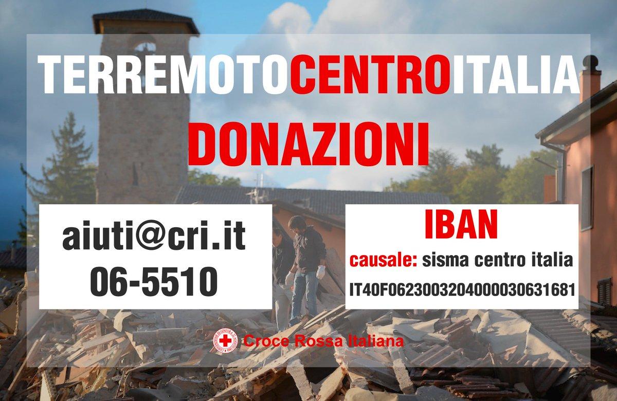 Attivato il servizio donazioni della #CroceRossa Italiana per il #terremoto di Amatrice, Rieti.