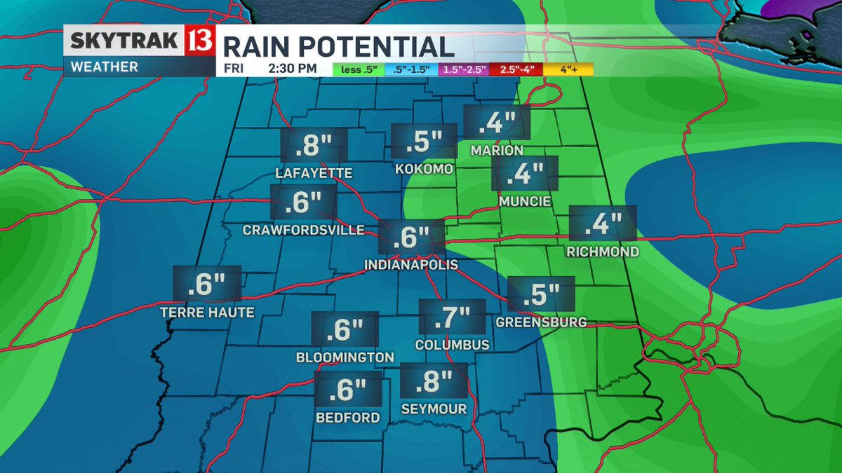 Projected rain totals by Friday afternoon. Details WTHRSunrise.