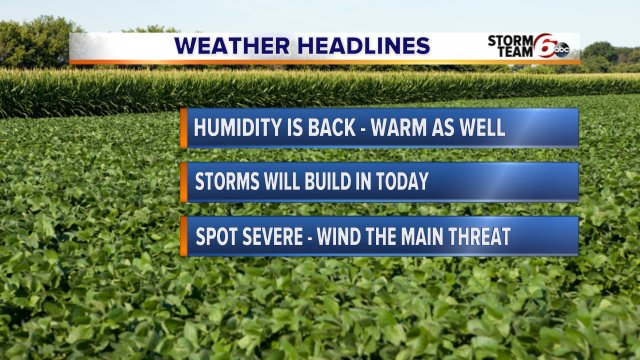 HEADLINES: Humidity is back as well as the chance of storms. Some strong to severe storms area possible. @rtv6