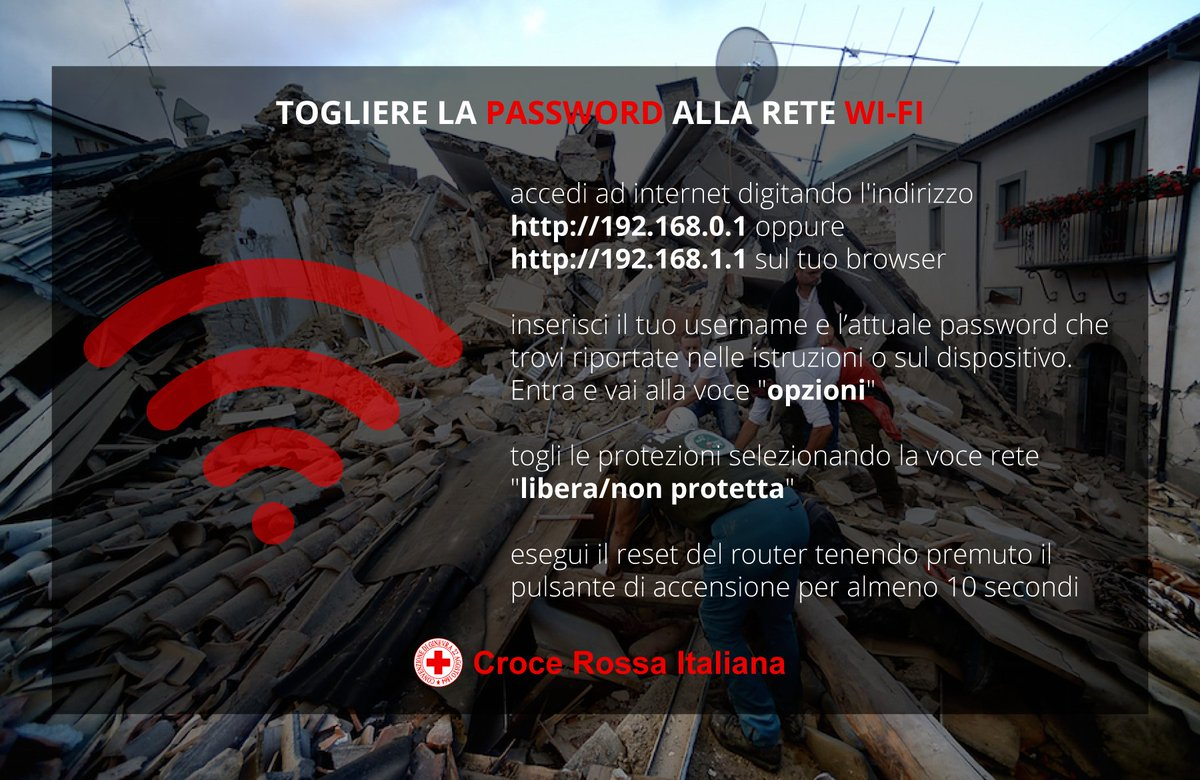 The Red Cross is urging Italians to turn their Wi-Fi passwords off after the earthquake