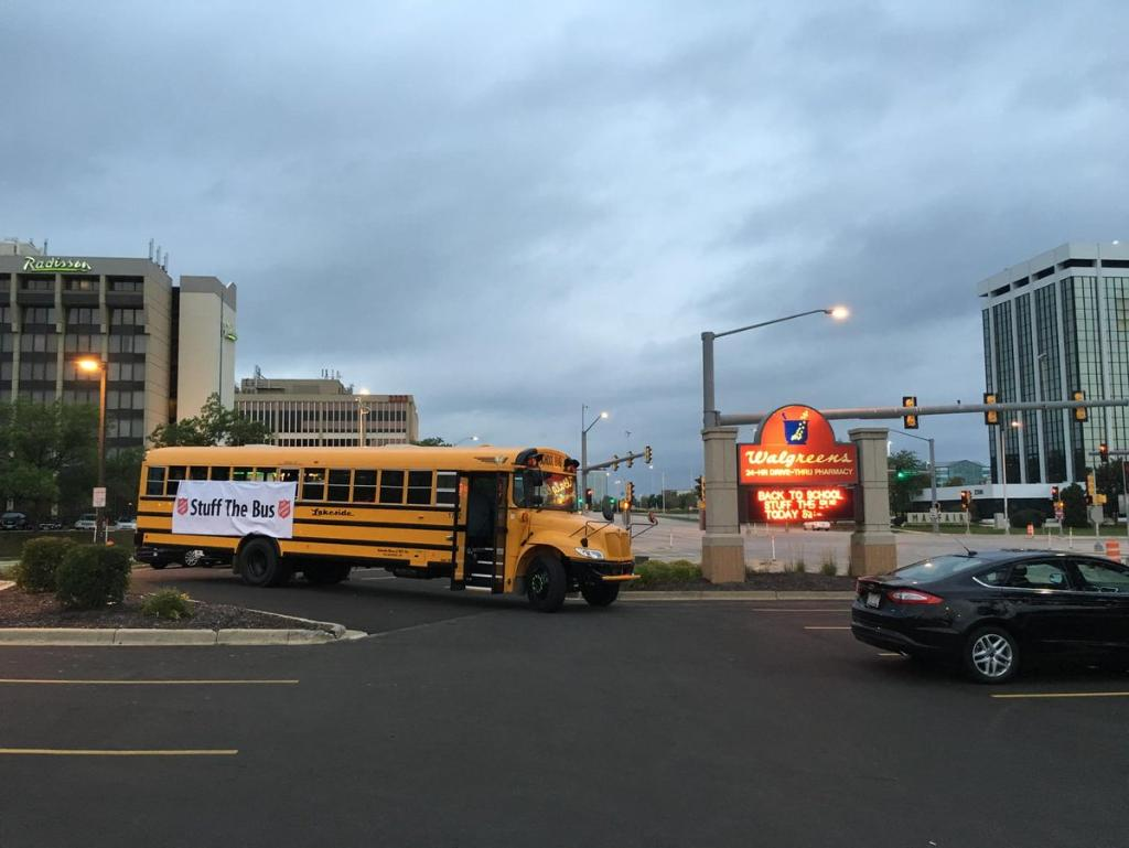 Time to 'Stuff The Bus' Walgreens at Mayfair Rd & North Ave. ClassActMKE Collecting supplies to help area kids.