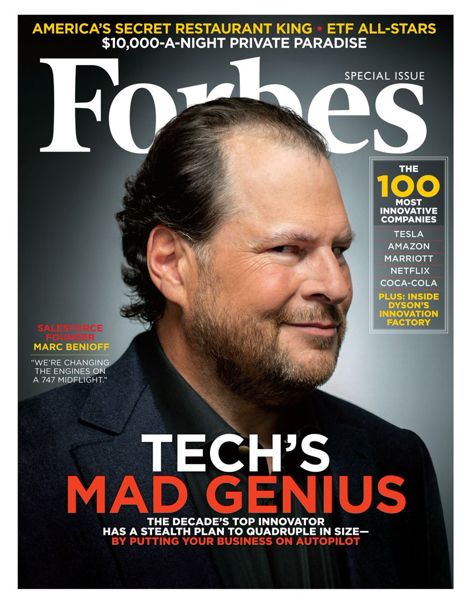 """Salesforce CEO Marc Benioff, """"the decade's top innovator,"""" featured on cover of Forbes! https://t.co/qoIvYp8l85 https://t.co/drAbERTOn7"""