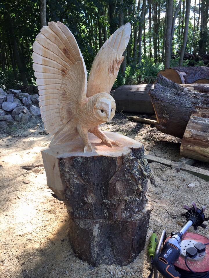 Chainsaw carving galleries owl sculpture in flight spirit of