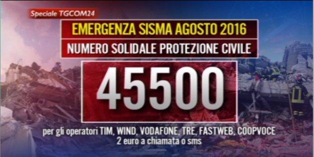 Attivo il numero solidale 45500 per aiutare le persone colpite dal #terremoto.