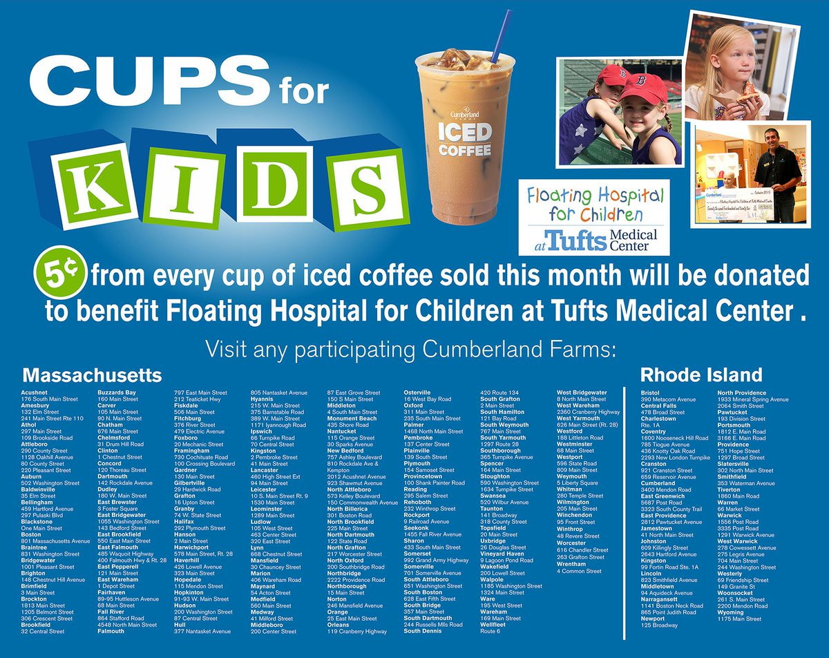 Before the month is over, get an iced coffee at @cumberlandfarms. 5cents goes to Floating Hospital! #CupsforKids https://t.co/uCe3YkGtl7