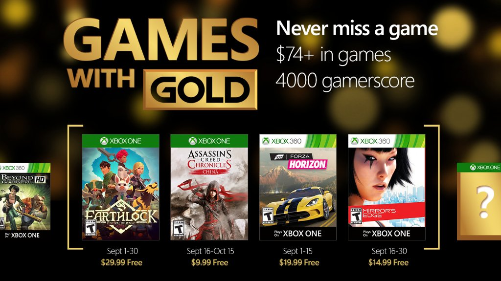 Xbox Live Games with Gold September 2016