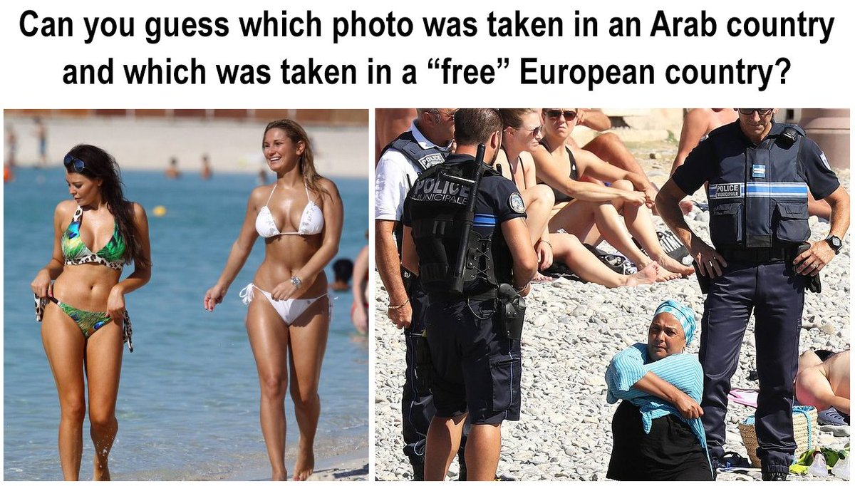 "Which photo was taken in a ""free society""? #BurkiniBan h/t @LailaAlarian https://t.co/OAtTj74Y3w"
