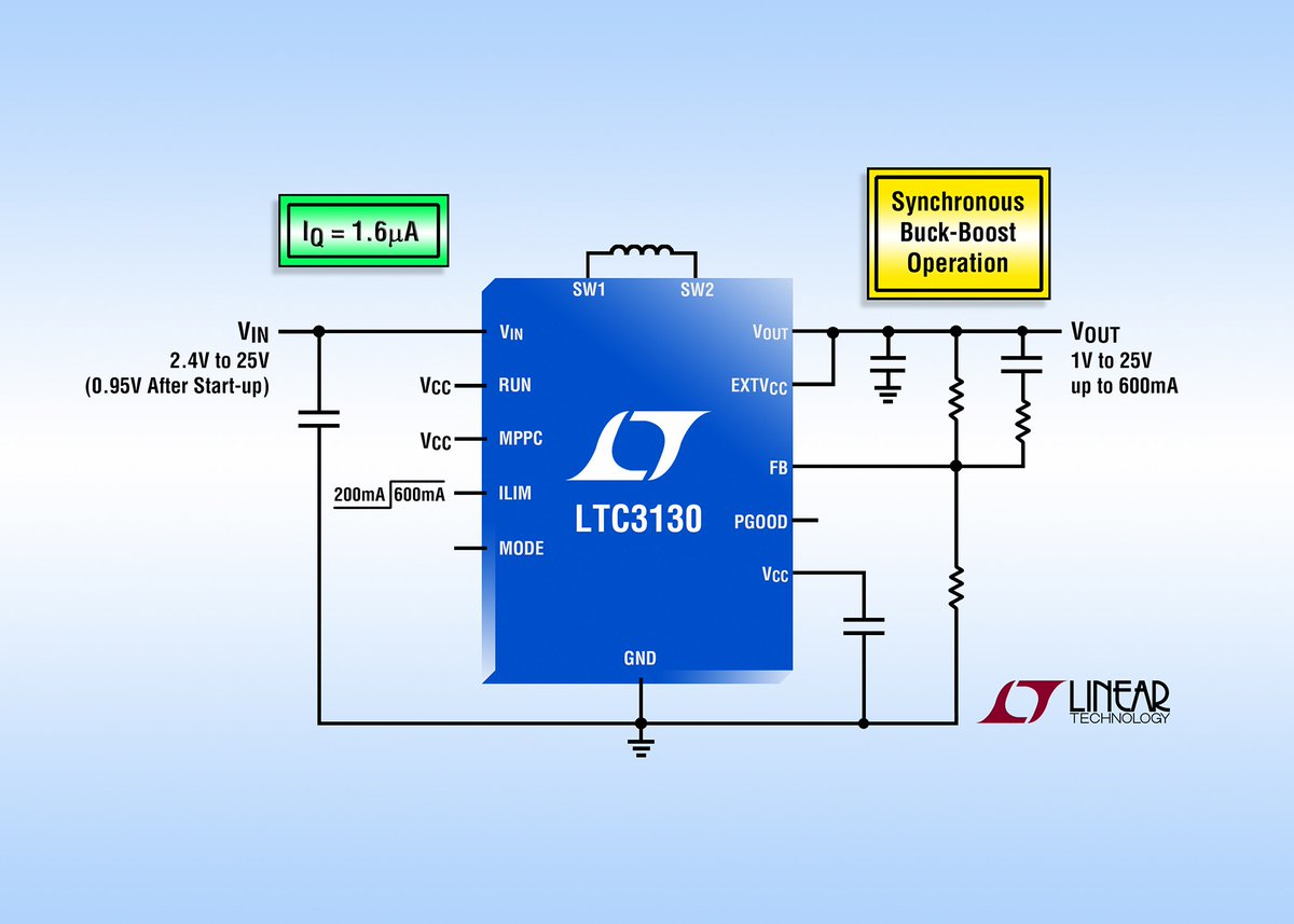 25V, 600mA Synchronous Buck-Boost DC/DC Converters Consume Only 1.6µA of Quiescent Current...https://t.co/LFSOkTVszO https://t.co/oJIQa41yl5