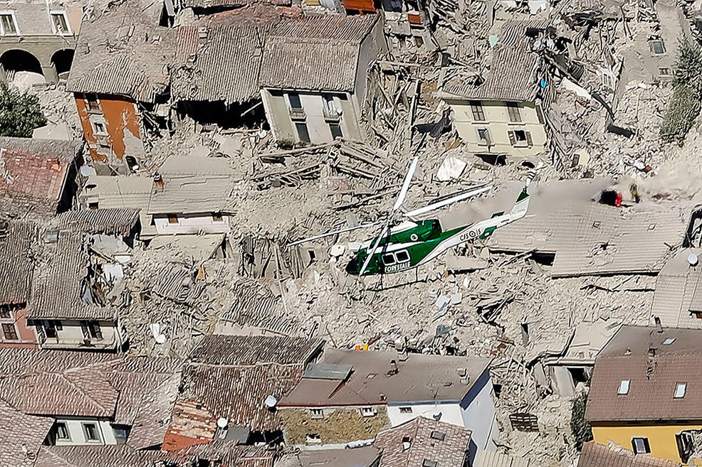 Dramatic images show the city of Amatrice reduced to rubble after italyearthquake