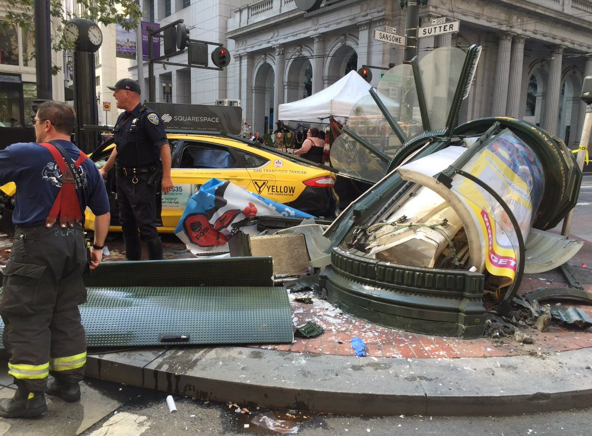 Witness: Cab driver was on phone as he slammed into Market Street shoe shine stand