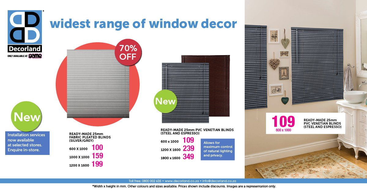 Game Stores Sa On Twitter 70 Off Decorland Fabric Pleated Blinds