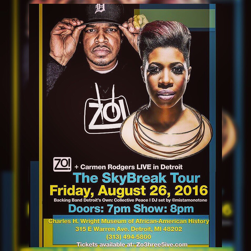 #DETROIT:  @Zo3hree5ive  x @CarmenRodgers  x @CollectivePeace  x YOU!   Friday.  @TheWrightMuseum. See you then! https://t.co/IfgbZUYBoK