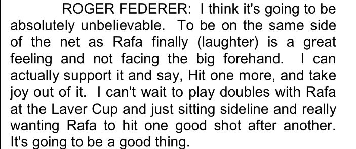 Federer on teaming up with Nadal on Laver Cup's Team Europe: https://t.co/Eh5pI106pj