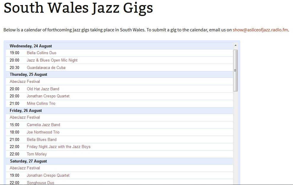 We've created a new online service for jazz lovers in South Wales - a live jazz gig list at https://t.co/Jz9kbLYQ28! https://t.co/QqE2dOu5Th