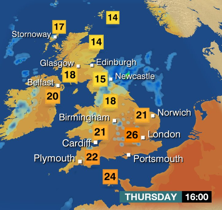 bbc weather on twitter   u0026quot not as hot tomorrow in the