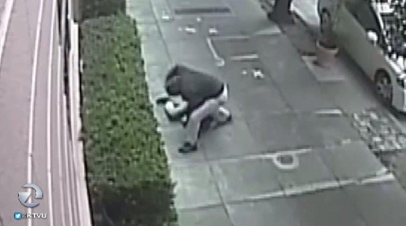 SFPD looking for man who randomly attacked woman walking down street at Washington & Gough.