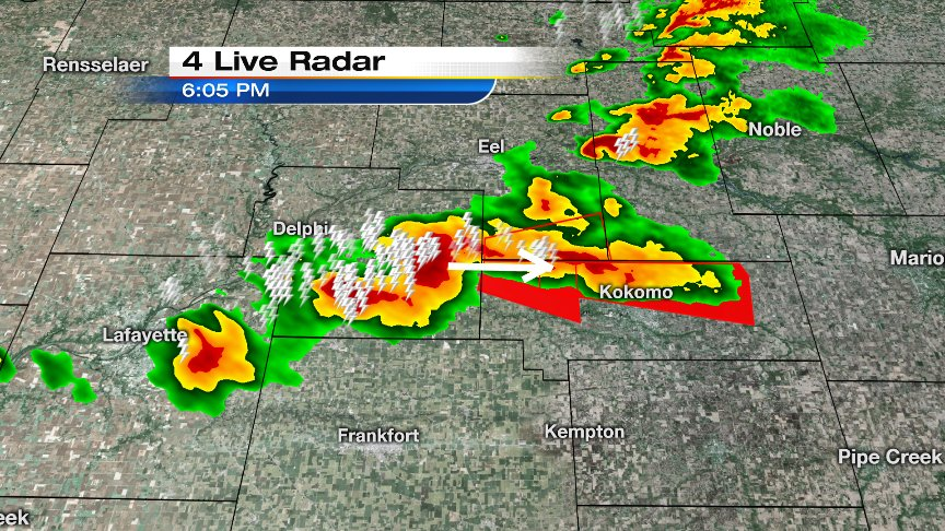 Wow...Kokomo, Indiana, already hit by one tornado this afternoon, could be facing another.