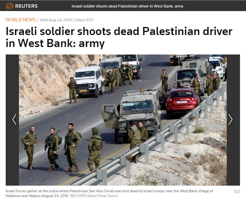Palestinian attacks Israeli soldiers from car, then gets out, stabs one, and is shot. This is @Reuters' headline. https://t.co/QhN21QMpvz