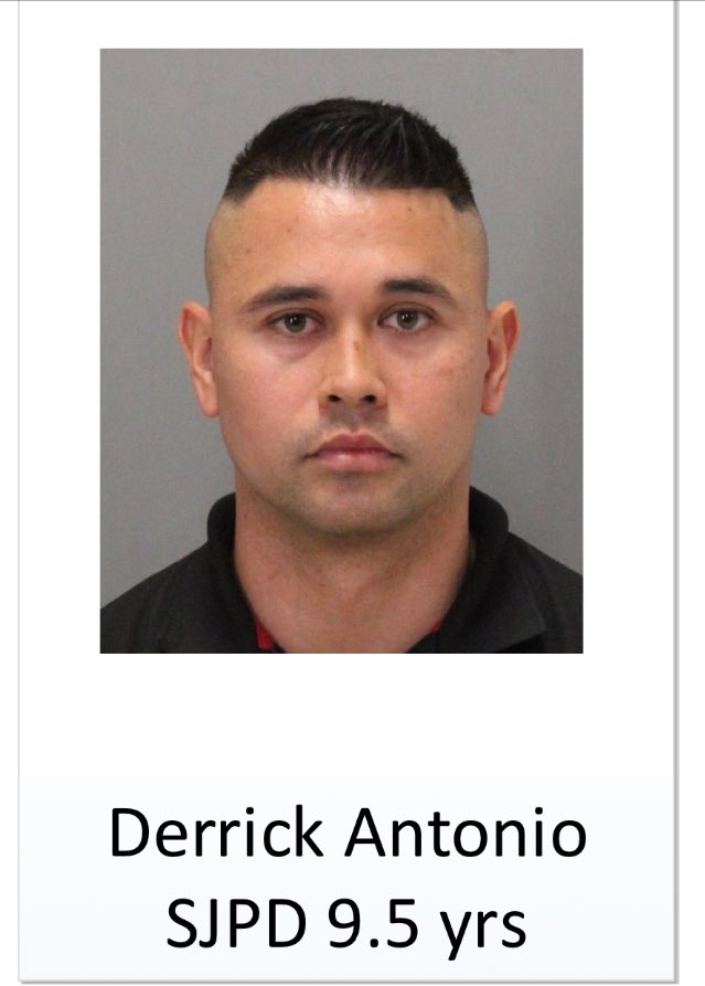 San Jose Police identify Derrick Antonio as 9 1/2 yr SJPD officer as 1 of 23 suspects in gang sweep.