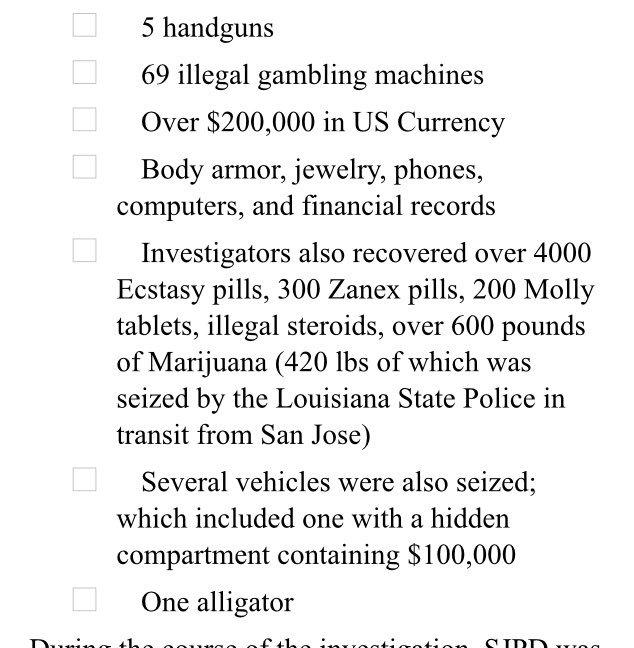 Drugs, guns, gambling machines, money, vehicles, and 1 alligator seized in San Jose Police's