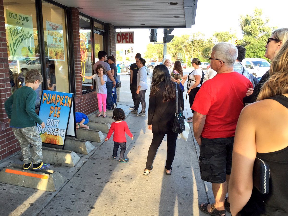 They're all in line for that seasonal pumpkin pie soft serve. Probably. @sargentsundae Winnipeg