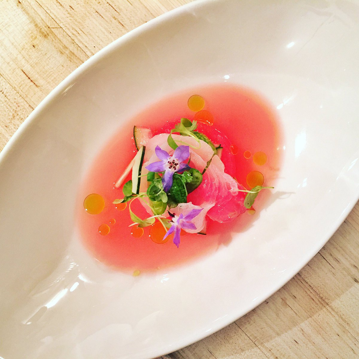 James Beard Foundation On Twitter Cured Hamachi With Cucumbers Watermelon And Borage At The Beardhouse Courtesy Of Craft Newyork