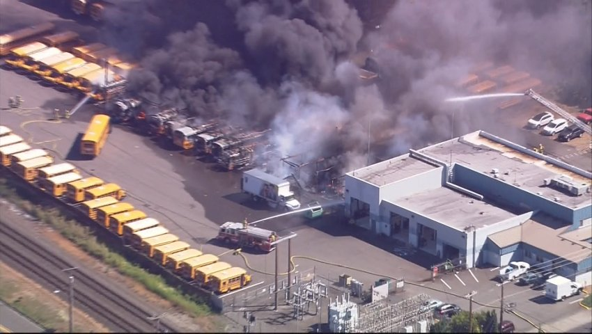 Over 25 buses damaged in massive fire at Puyallup School District bus barnWhat we know