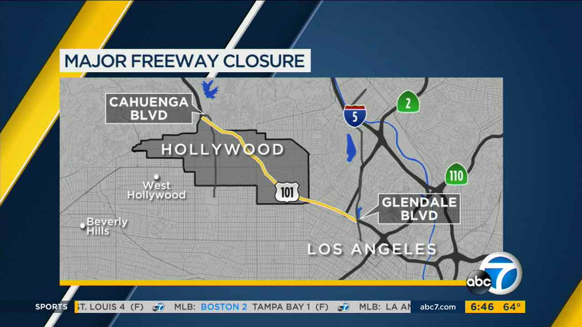 Some lanes closing overnight on 101 from Hollywood to downtown LA starting Sunday