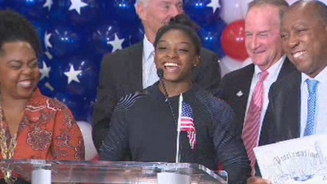 Simone Biles returns home to Houston after Olympic triumph