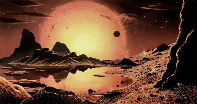 'Stellar Radiance' by David A. Hardy (1972), depicting a planet orbiting Proxima Centauri, via @70sscifiart https://t.co/6UWFiBgIcr