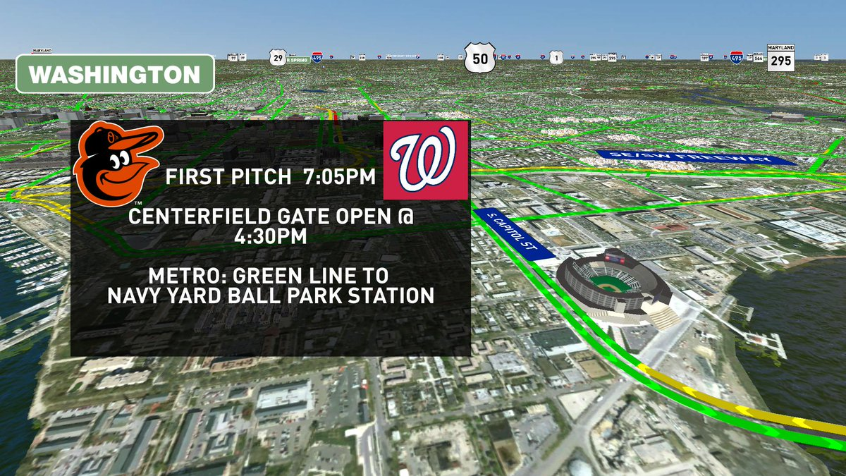 Heads up! Nats host the Orioles tonight! First pitch @ 7:05 watch for pedestrians & heavy traffic DCtraffic