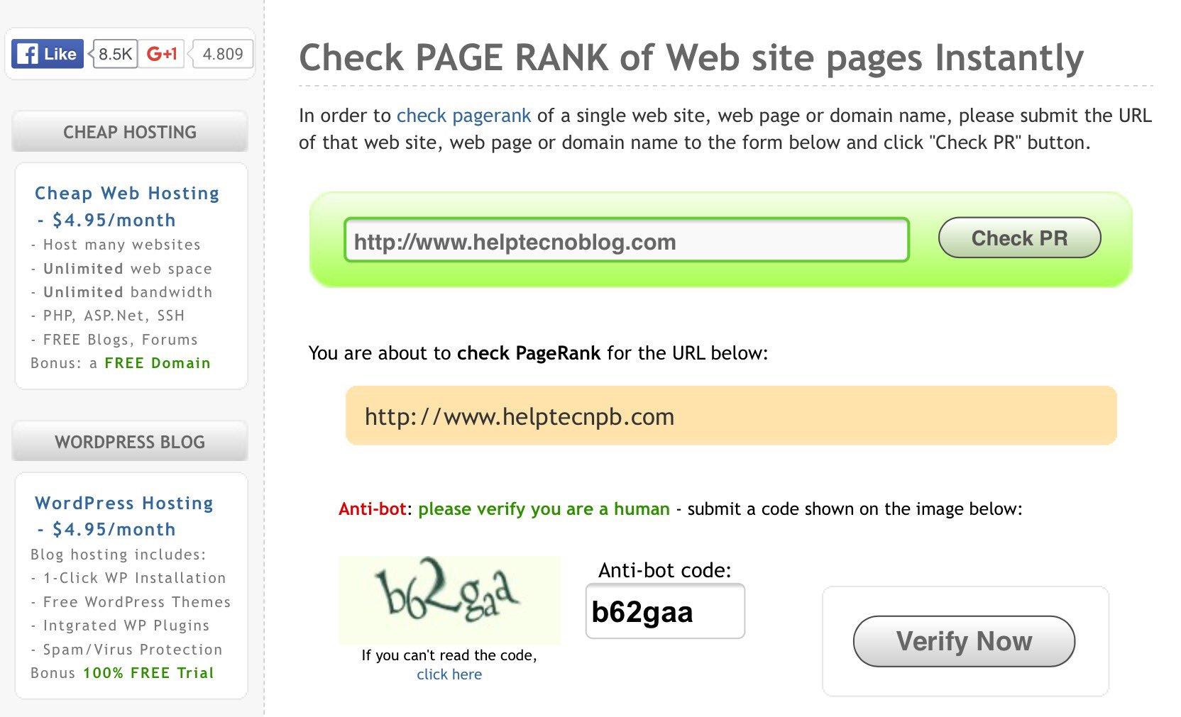 Come verificare Page Rank di una pagina web