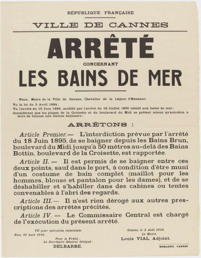 Arrêté Cannes 1918