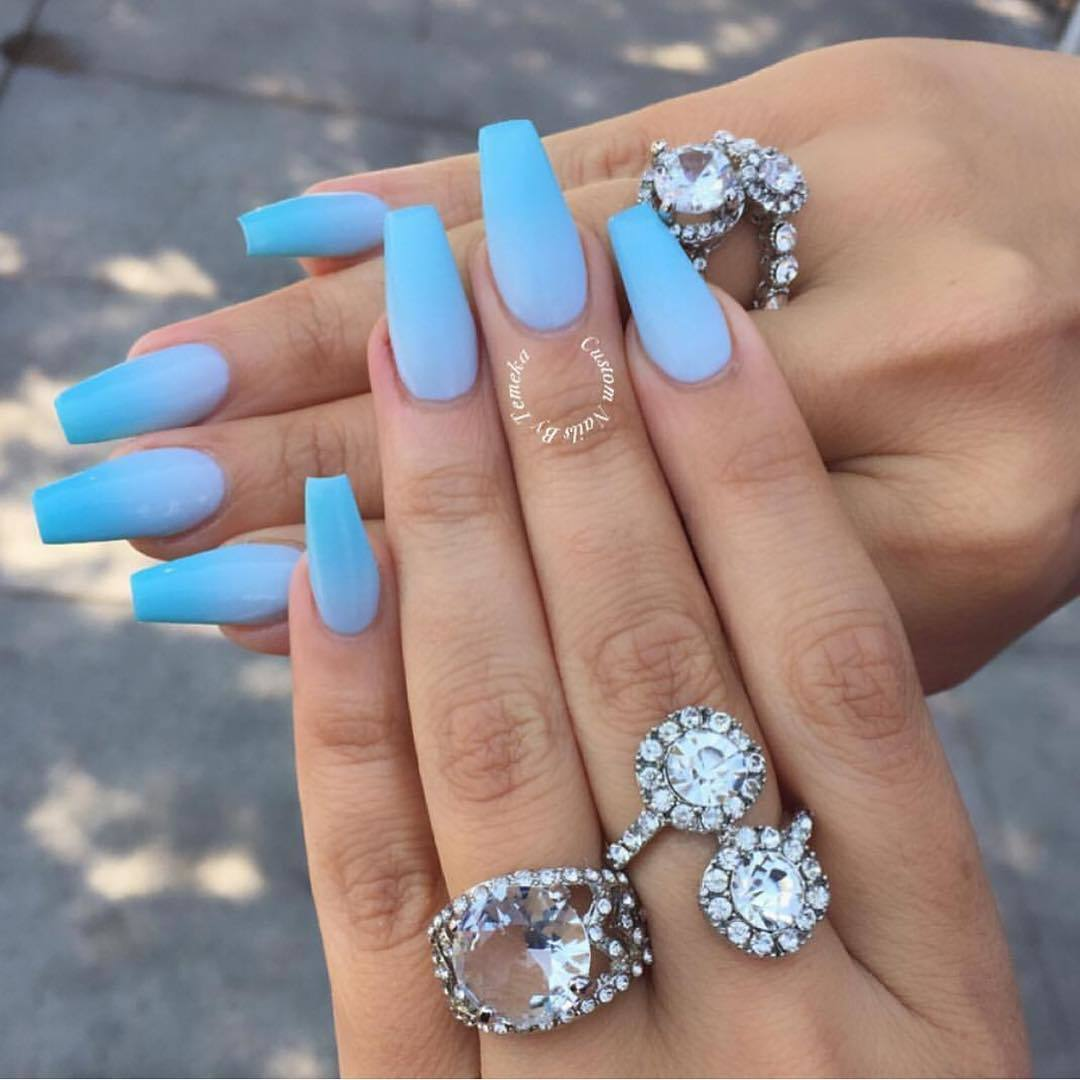 Inspirational Cute Blue Nails Coffin