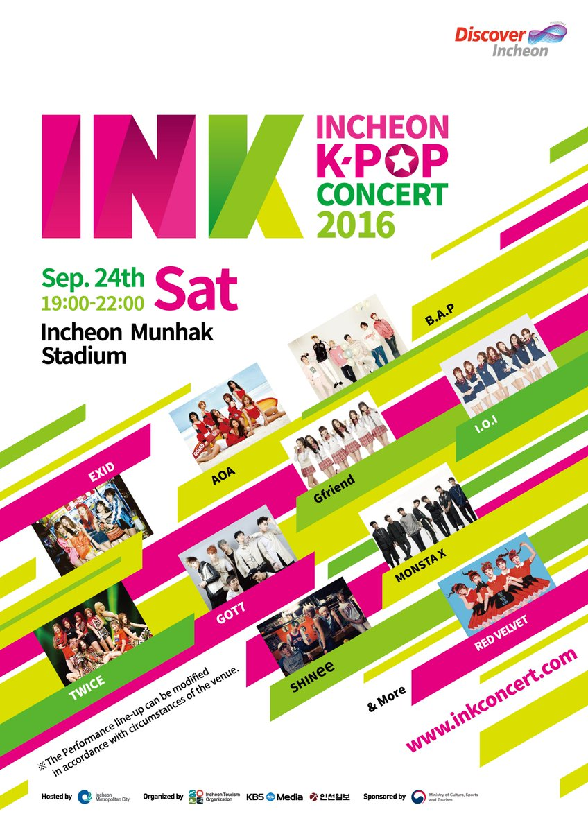 Free Kpop Concert - Sat. 9/24 @ 7pm~10pm @ Incheon #AOA #BAP #EXID & More! Apply now! https://t.co/tBoAOrnS5V https://t.co/zd61IW4JsM