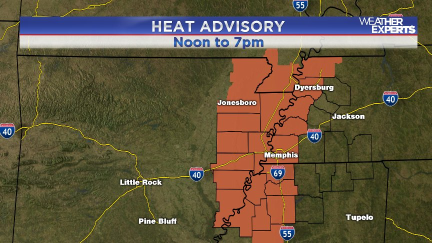 HEAT INDEX values now forecast to climb to near 109! Slow down, drink water, find cool places WREG