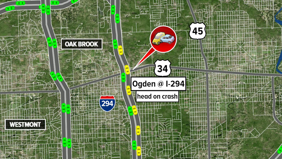 Hinsdale, Ogden Ave a And I-294 - Accident - traffic diverted to local lanes - head on crash