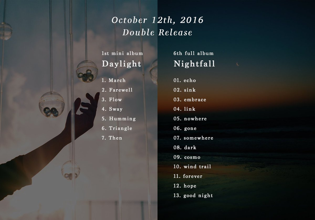 Release  2枚のアルバムを同時リリースします  Daylight / Nightfall  2016.10.12 out embrace  詳細:https://t.co/c4fmdCxTNE https://t.co/scseVfymqj