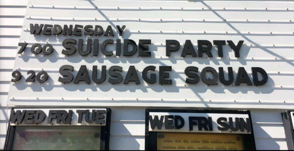 Suicide Party? This sounds like a job for the SAUSAGE SQUAD https://t.co/PFYV8ZPkd6
