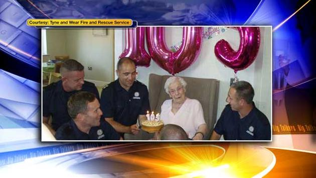 Woman asks for hunky firefighters at her 105th birthday party -