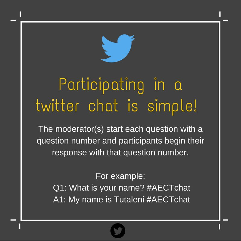 We're just about ready 4 #AECTchat ! We'll use the Q: & A: format for asking & responding to ? @AECT @emergeAfrica https://t.co/ptv7aK6Exq