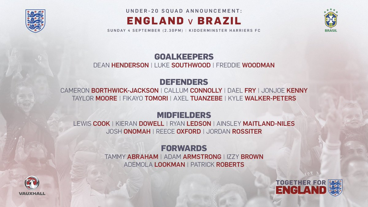📝 Under-20s boss Aidy Boothroyd has named his #YoungLions squad for September's clash with Brazil in Kidderminster.
