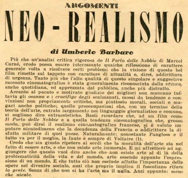 Image result for umberto barbaro neorealismo 1943
